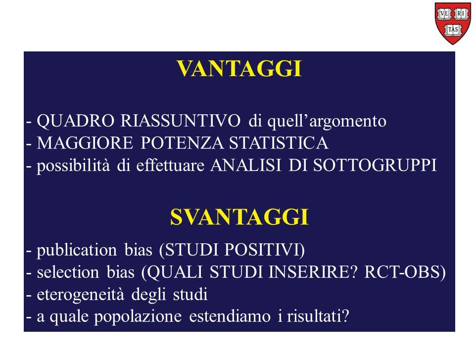 VANTAGGI - QUADRO RIASSUNTIVO di quell'argomento - MAGGIORE POTENZA STATISTICA - possibilità di effettuare ANALISI DI SOTTOGRUPPI SVANTAGGI - publication bias (STUDI POSITIVI) - selection bias (QUALI STUDI INSERIRE.