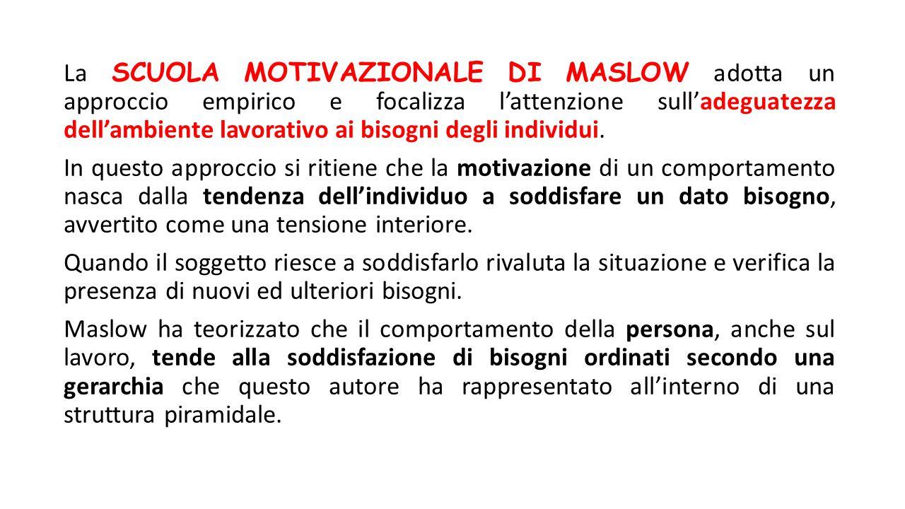 La SCUOLA MOTIVAZIONALE DI MASLOW adotta un approccio empirico e focalizza l'attenzione sull'adeguatezza dell'ambiente lavorativo ai bisogni degli ind