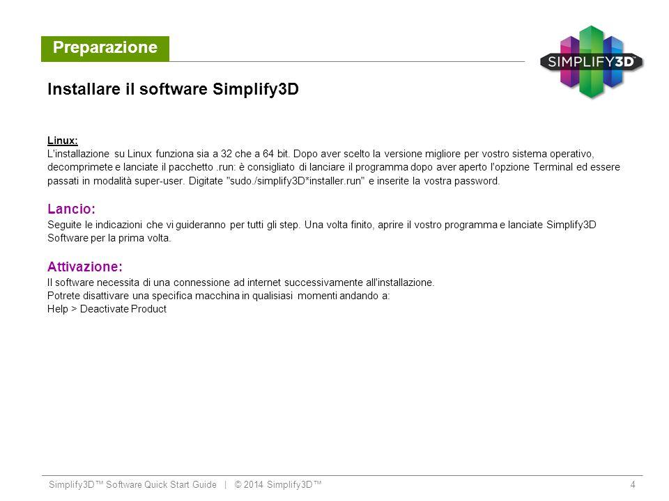 Preparazione Configurazione Quando aprite Simplify3D per la prima volta, sarete accolti da Configuration Assistant .