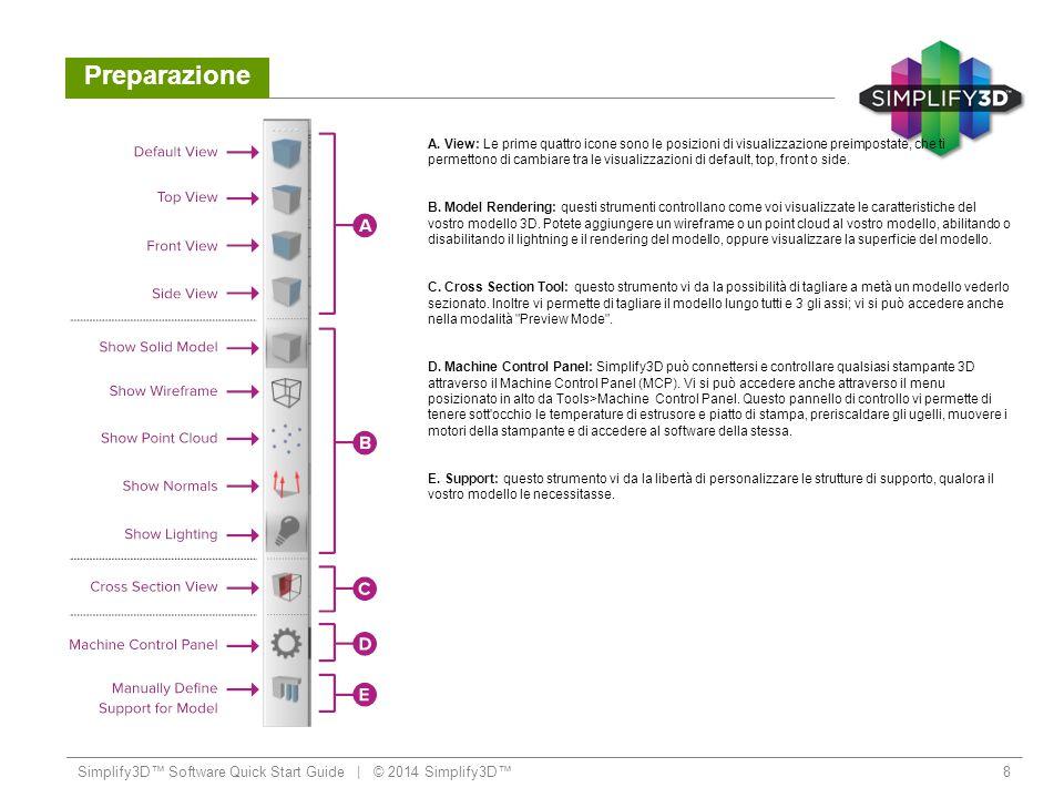 Flusso di Lavoro Importare e modificare i vostri modelli 3D Simplify3D™ Software Quick Start Guide   © 2014 Simplify3D™9 Il primo passo da compiere è importare modello che volete stampare.