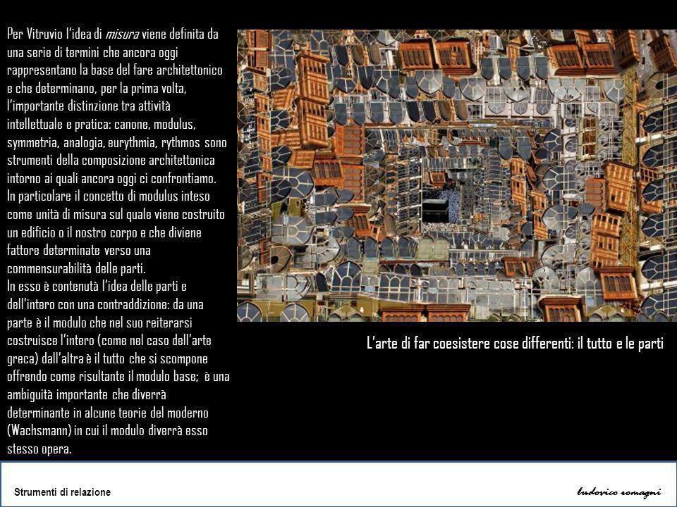 ludovico romagni Strumenti di relazione Per Vitruvio l'idea di misura viene definita da una serie di termini che ancora oggi rappresentano la base del