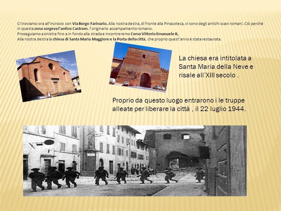 Ci troviamo ora all'incrocio con Via Borgo Farinario. Alla nostra destra, di fronte alla Pinacoteca, vi sono degli antichi scavi romani. Ciò perché in