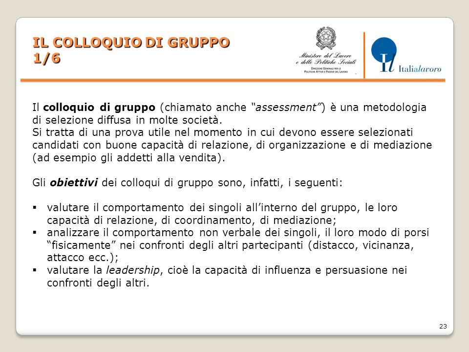 """23 IL COLLOQUIO DI GRUPPO 1/6 Il colloquio di gruppo (chiamato anche """"assessment"""") è una metodologia di selezione diffusa in molte società. Si tratta"""