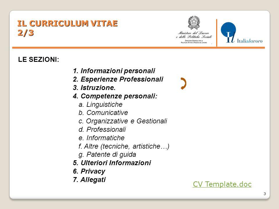 3 IL CURRICULUM VITAE 2/3 1. Informazioni personali 2. Esperienze Professionali 3. Istruzione. 4. Competenze personali: a. Linguistiche b. Comunicativ
