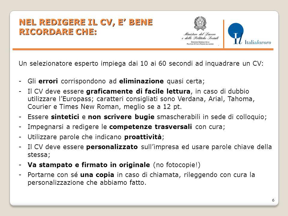 7 LA LETTERA DI PRESENTAZIONE 1/4 A COSA SERVE.