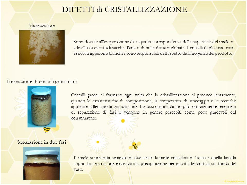 DIFETTI di CRISTALLIZZAZIONE Marezzature Formazione di cristalli grossolani Separazione in due fasi Il miele si presenta separato in due strati: la pa