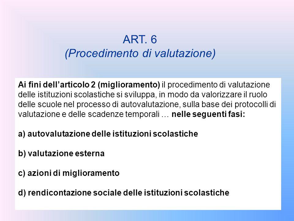 ART. 6 (Procedimento di valutazione) Ai fini dell'articolo 2 (miglioramento) il procedimento di valutazione delle istituzioni scolastiche si sviluppa,