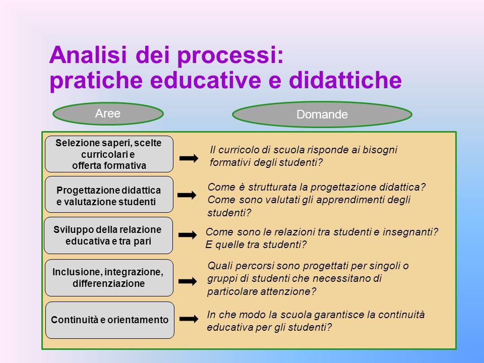 Analisi dei processi: pratiche educative e didattiche Quali percorsi sono progettati per singoli o gruppi di studenti che necessitano di particolare a
