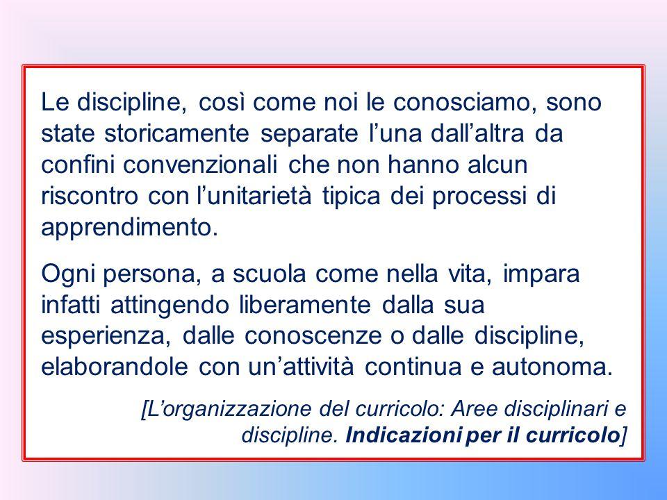 Le discipline, così come noi le conosciamo, sono state storicamente separate l'una dall'altra da confini convenzionali che non hanno alcun riscontro c