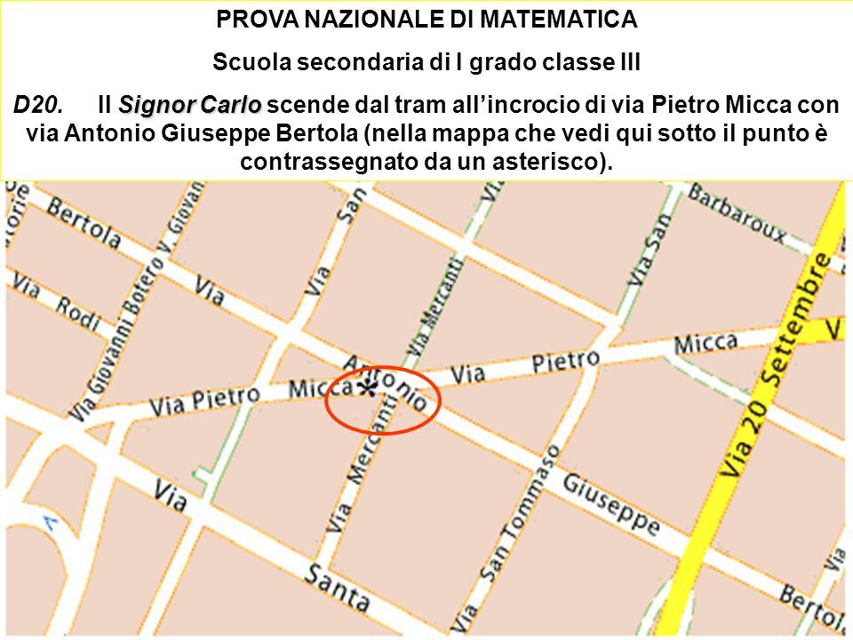 Ischia 2010 Damiano Previtali 61 PROVA NAZIONALE DI MATEMATICA Scuola secondaria di I grado classe III Signor Carlo D20.Il Signor Carlo scende dal tra