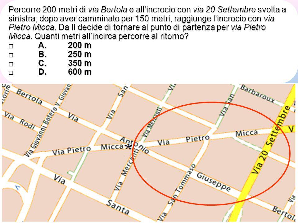 Percorre 200 metri di via Bertola e all'incrocio con via 20 Settembre svolta a sinistra; dopo aver camminato per 150 metri, raggiunge l'incrocio con v