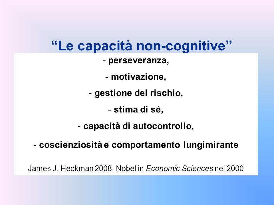 """""""Le capacità non-cognitive"""" - perseveranza, - motivazione, - gestione del rischio, - stima di sé, - capacità di autocontrollo, - coscienziosità e comp"""