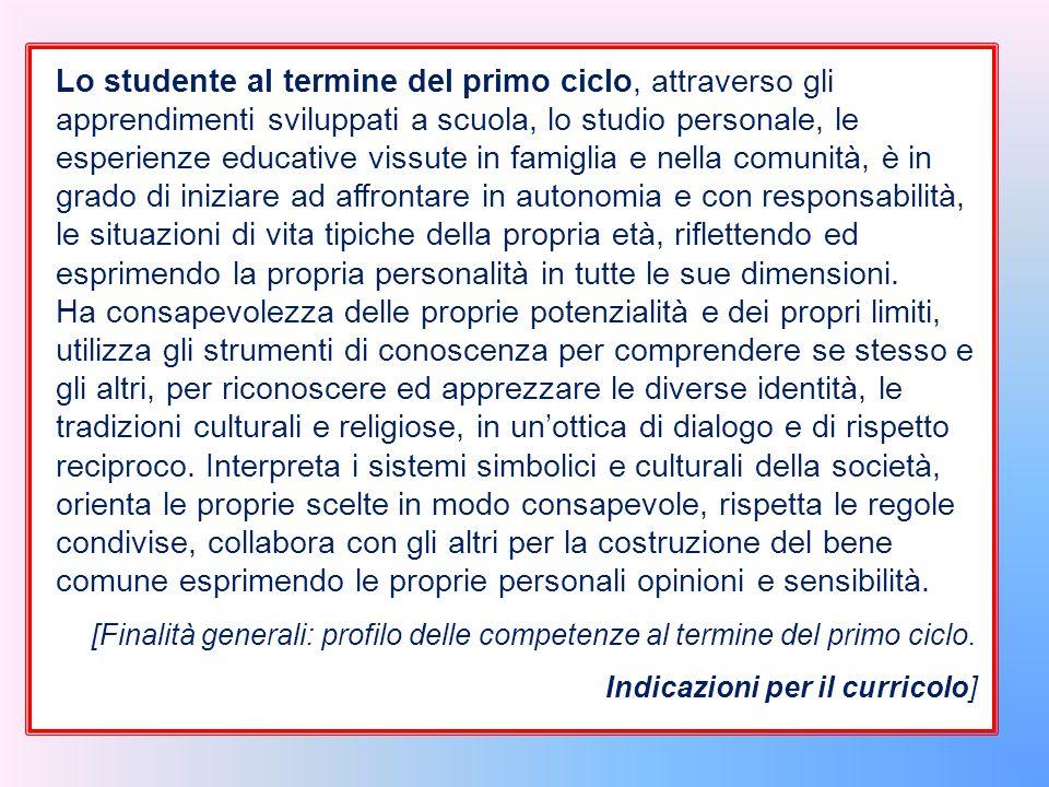 Lo studente al termine del primo ciclo, attraverso gli apprendimenti sviluppati a scuola, lo studio personale, le esperienze educative vissute in fami