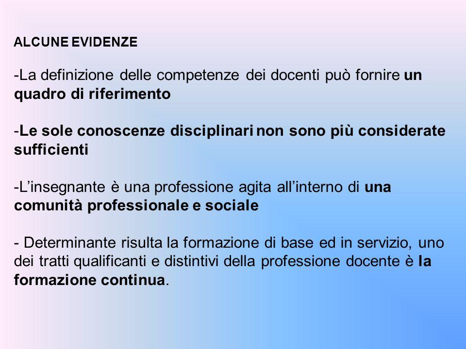 ALCUNE EVIDENZE -La definizione delle competenze dei docenti può fornire un quadro di riferimento -Le sole conoscenze disciplinari non sono più consid