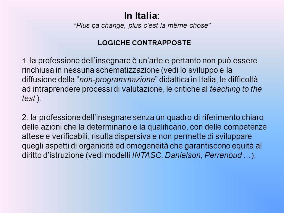 LOGICHE CONTRAPPOSTE 1. la professione dell'insegnare è un'arte e pertanto non può essere rinchiusa in nessuna schematizzazione (vedi lo sviluppo e la