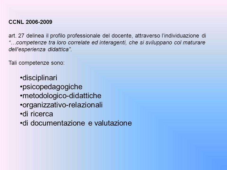 """CCNL 2006-2009 art. 27 delinea il profilo professionale del docente, attraverso l'individuazione di """"…competenze tra loro correlate ed interagenti, ch"""