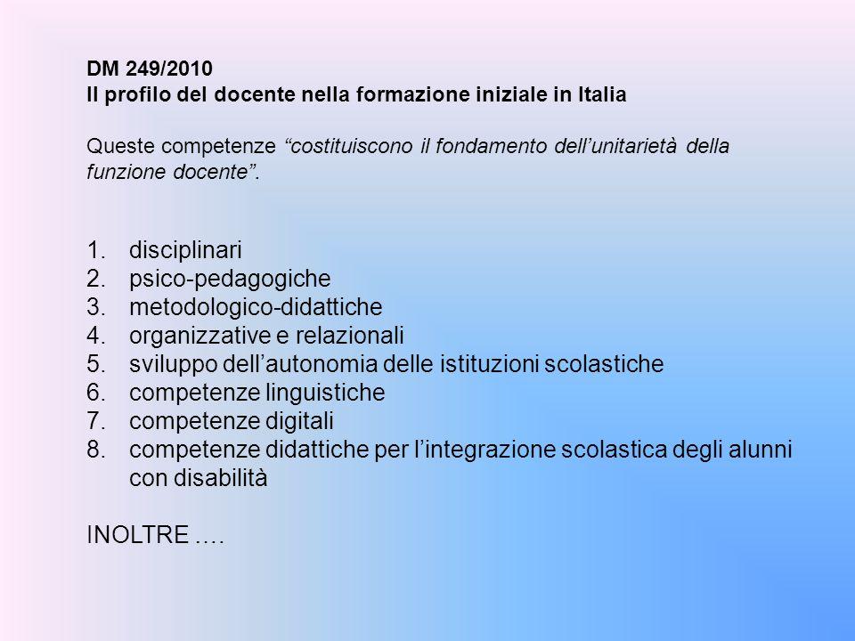 """DM 249/2010 Il profilo del docente nella formazione iniziale in Italia Queste competenze """"costituiscono il fondamento dell'unitarietà della funzione d"""