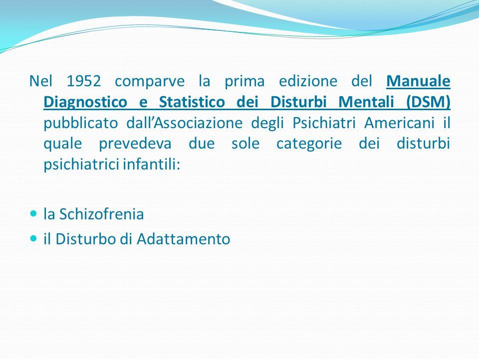 Nel 1952 comparve la prima edizione del Manuale Diagnostico e Statistico dei Disturbi Mentali (DSM) pubblicato dall'Associazione degli Psichiatri Amer