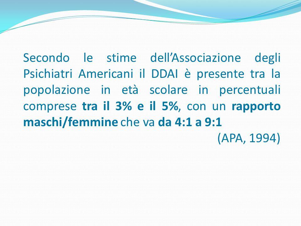 Secondo le stime dell'Associazione degli Psichiatri Americani il DDAI è presente tra la popolazione in età scolare in percentuali comprese tra il 3% e