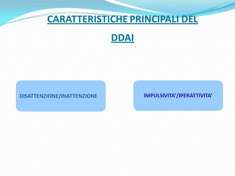 CARATTERISTICHE PRINCIPALI DEL DDAI DISATTENZIONE/INATTENZIONE IMPULSIVITA'/IPERATTIVITA'