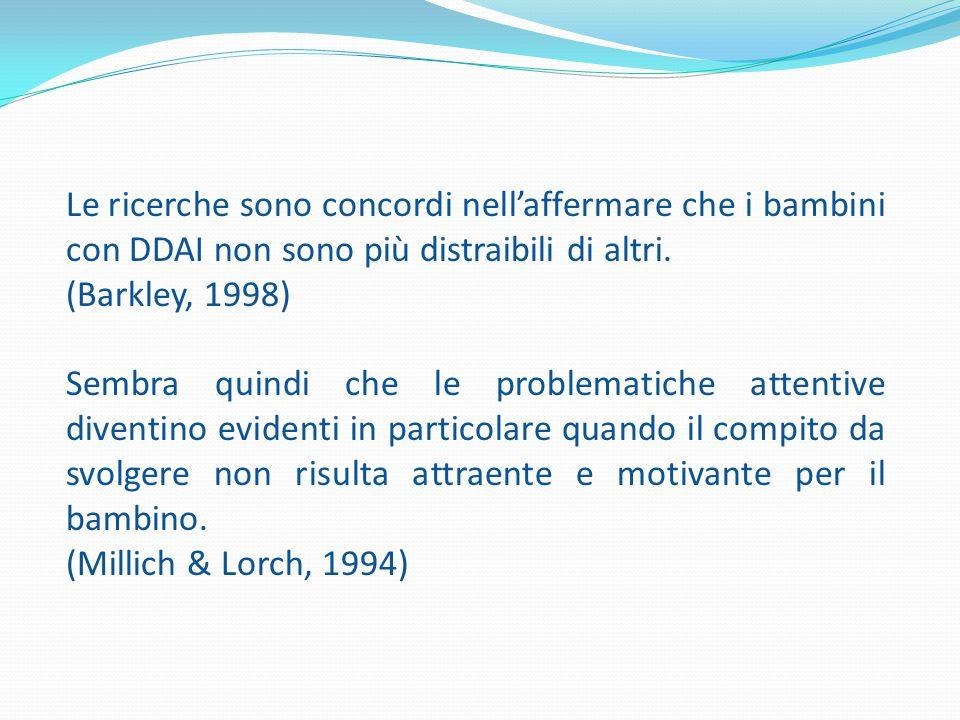 Le ricerche sono concordi nell'affermare che i bambini con DDAI non sono più distraibili di altri. (Barkley, 1998) Sembra quindi che le problematiche