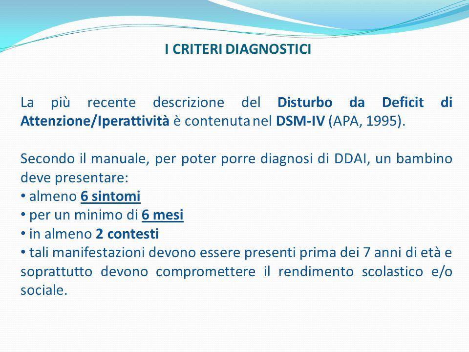 I CRITERI DIAGNOSTICI La più recente descrizione del Disturbo da Deficit di Attenzione/Iperattività è contenuta nel DSM-IV (APA, 1995). Secondo il man