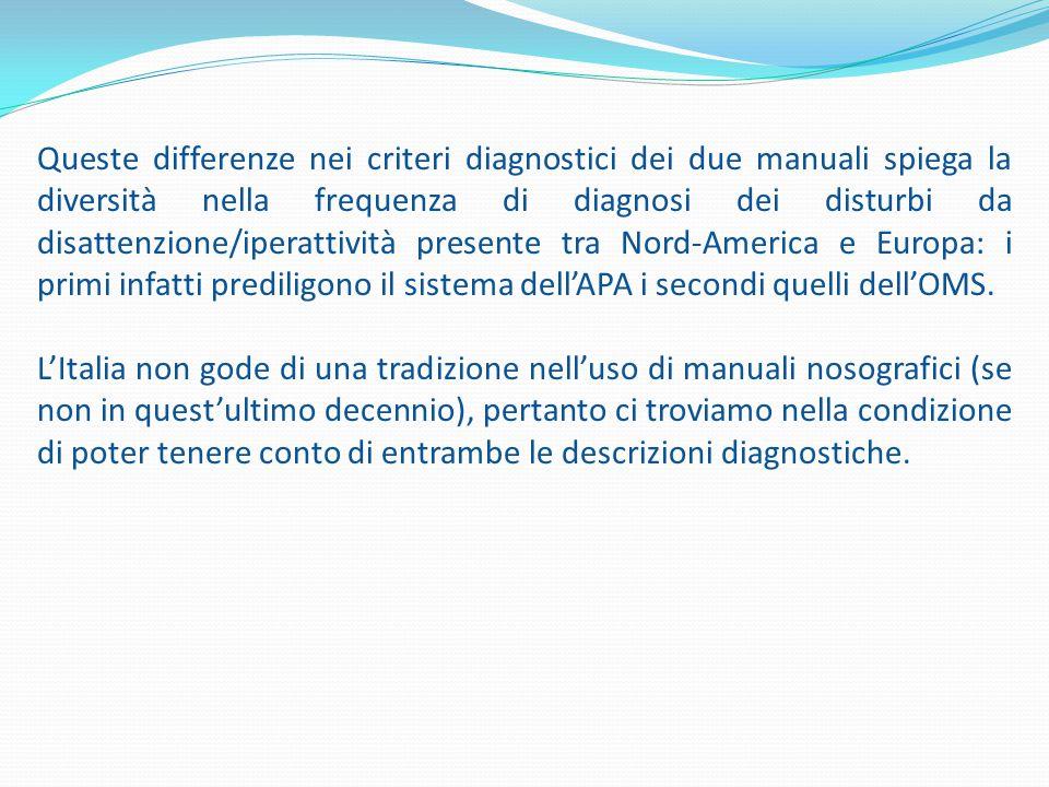 Queste differenze nei criteri diagnostici dei due manuali spiega la diversità nella frequenza di diagnosi dei disturbi da disattenzione/iperattività p