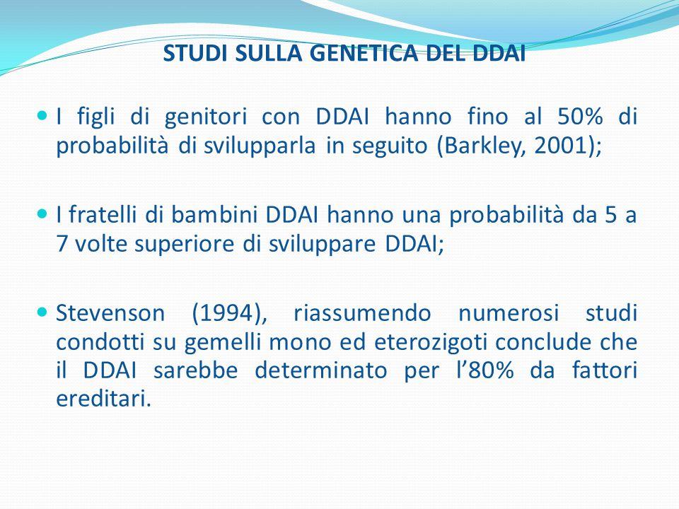 STUDI SULLA GENETICA DEL DDAI I figli di genitori con DDAI hanno fino al 50% di probabilità di svilupparla in seguito (Barkley, 2001); I fratelli di b