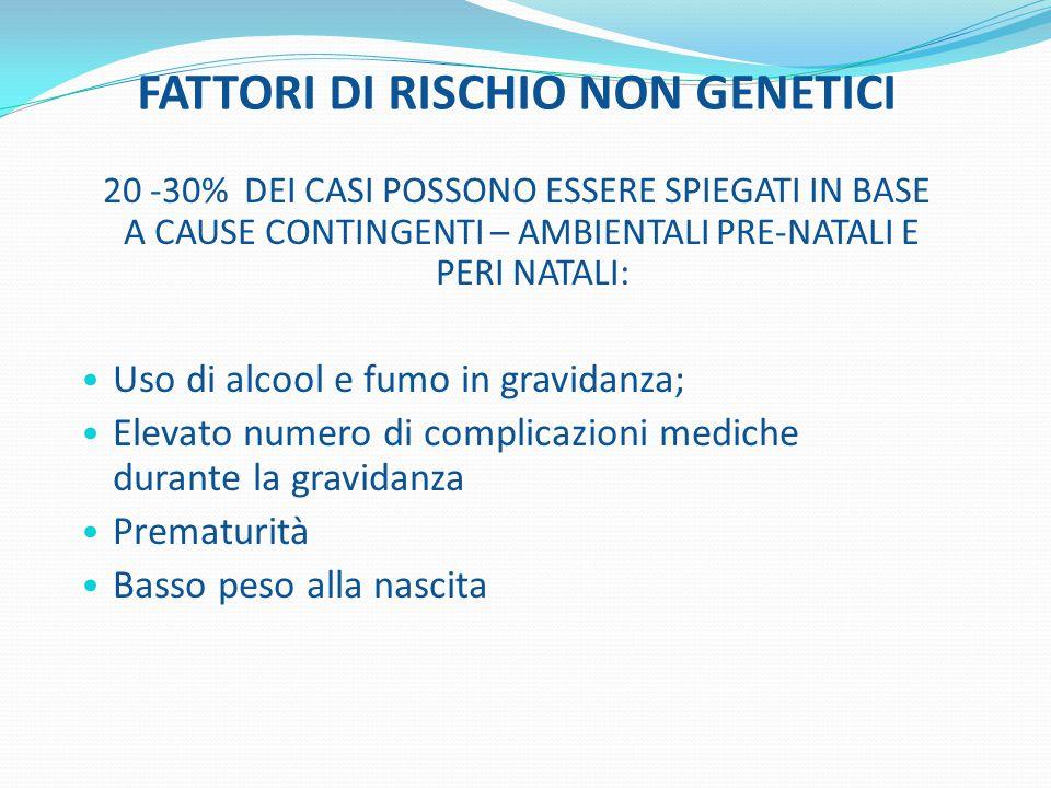 FATTORI DI RISCHIO NON GENETICI 20 -30% DEI CASI POSSONO ESSERE SPIEGATI IN BASE A CAUSE CONTINGENTI – AMBIENTALI PRE-NATALI E PERI NATALI: Uso di alc