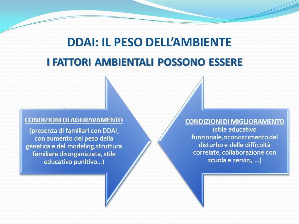 DDAI: IL PESO DELL'AMBIENTE I FATTORI AMBIENTALI POSSONO ESSERE CONDIZIONI DI AGGRAVAMENTO (presenza di familiari con DDAI, con aumento del peso della