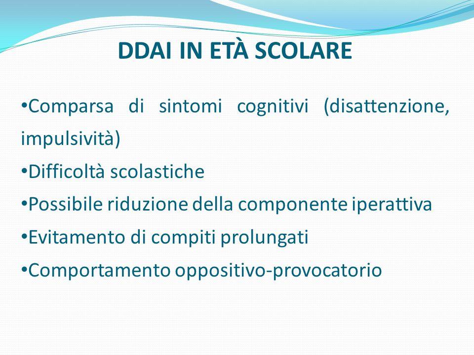 DDAI IN ETÀ SCOLARE Comparsa di sintomi cognitivi (disattenzione, impulsività) Difficoltà scolastiche Possibile riduzione della componente iperattiva