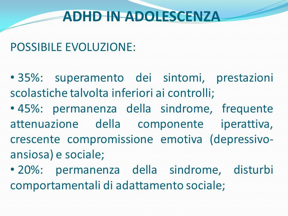 ADHD IN ADOLESCENZA POSSIBILE EVOLUZIONE: 35%: superamento dei sintomi, prestazioni scolastiche talvolta inferiori ai controlli; 45%: permanenza della