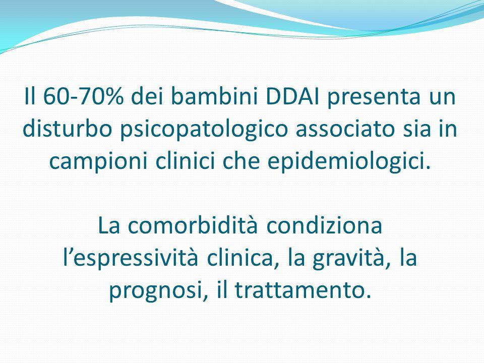 Il 60-70% dei bambini DDAI presenta un disturbo psicopatologico associato sia in campioni clinici che epidemiologici. La comorbidità condiziona l'espr