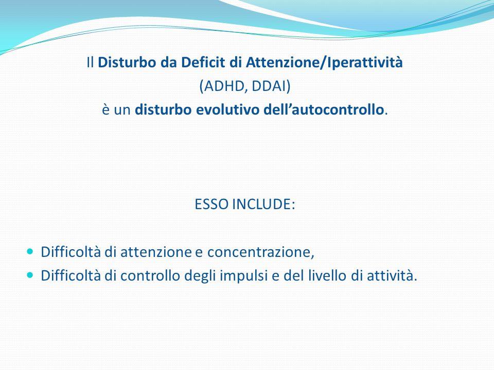 Il Disturbo da Deficit di Attenzione/Iperattività (ADHD, DDAI) è un disturbo evolutivo dell'autocontrollo. ESSO INCLUDE: Difficoltà di attenzione e co