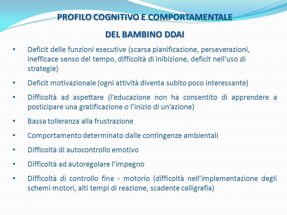 PROFILO COGNITIVO E COMPORTAMENTALE DEL BAMBINO DDAI Deficit delle funzioni esecutive (scarsa pianificazione, perseverazioni, inefficace senso del tem