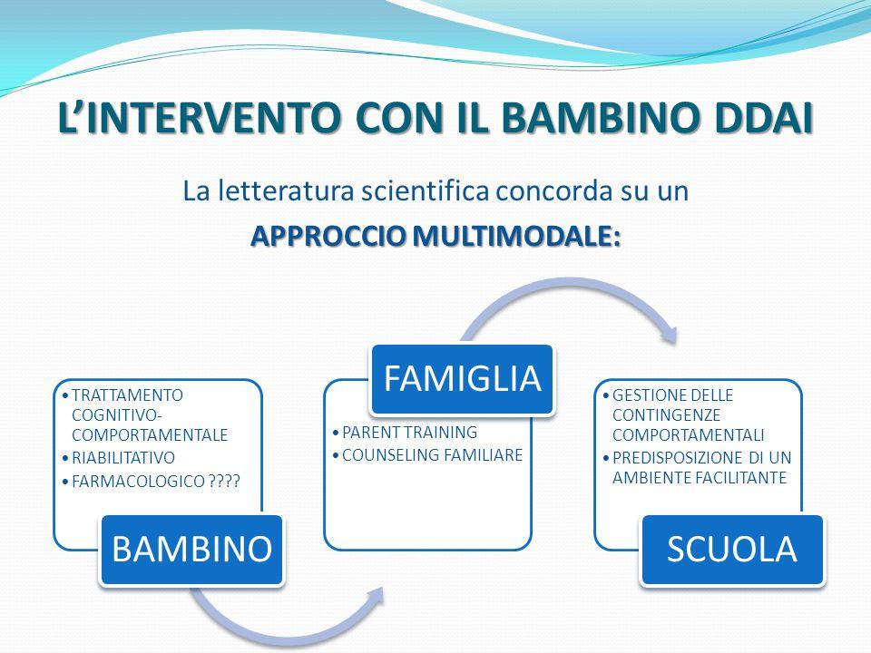 L'INTERVENTO CON IL BAMBINO DDAI La letteratura scientifica concorda su un APPROCCIO MULTIMODALE: TRATTAMENTO COGNITIVO- COMPORTAMENTALE RIABILITATIVO