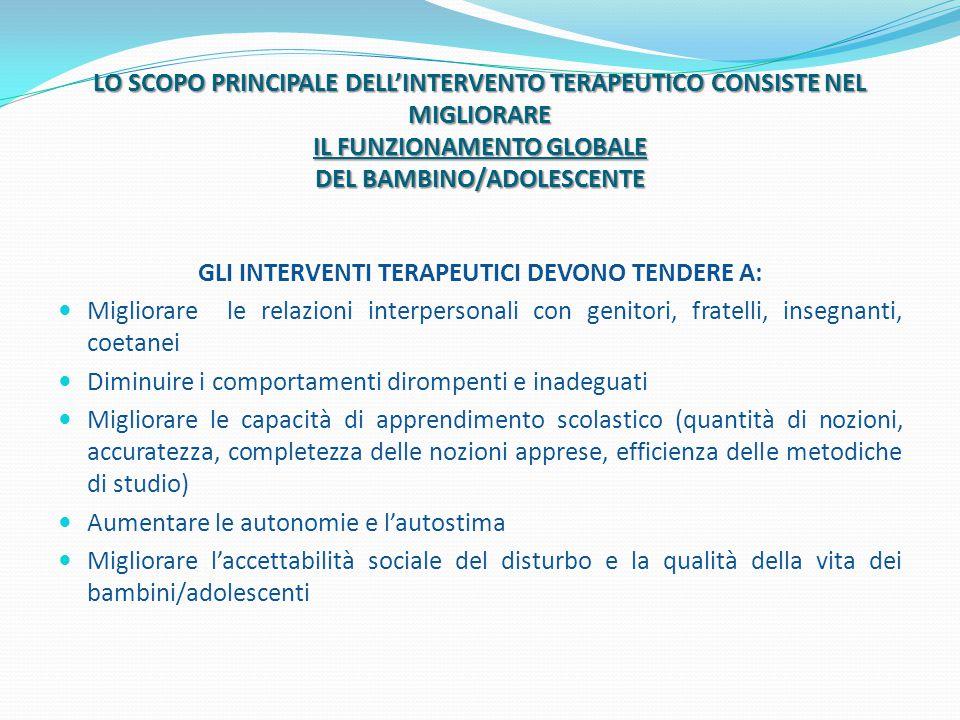 LO SCOPO PRINCIPALE DELL'INTERVENTO TERAPEUTICO CONSISTE NEL MIGLIORARE IL FUNZIONAMENTO GLOBALE DEL BAMBINO/ADOLESCENTE GLI INTERVENTI TERAPEUTICI DE