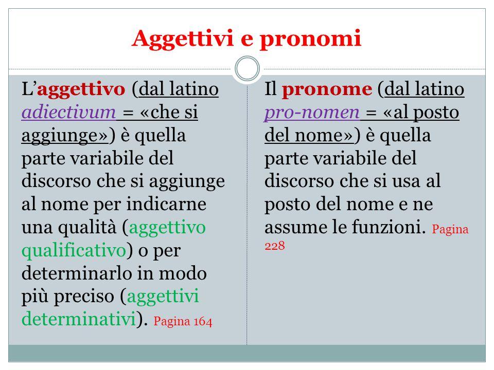 Aggettivi e pronomi L'aggettivo (dal latino adiectivum = «che si aggiunge») è quella parte variabile del discorso che si aggiunge al nome per indicarne una qualità (aggettivo qualificativo) o per determinarlo in modo più preciso (aggettivi determinativi).