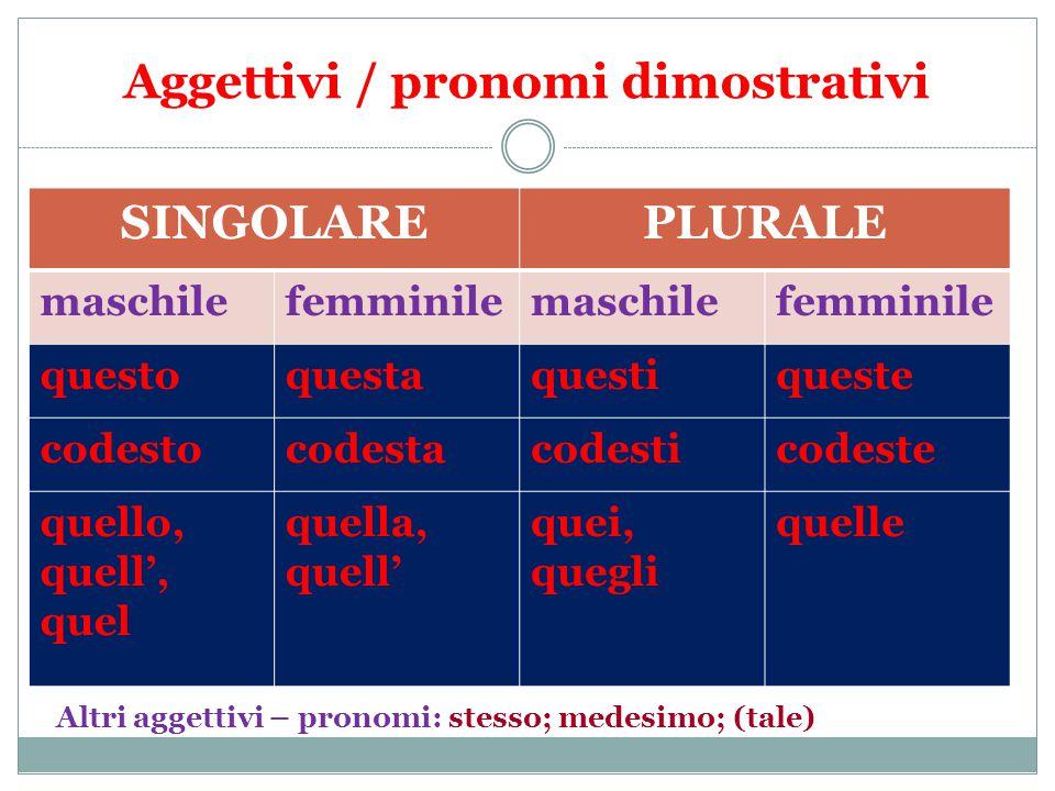 Aggettivi / pronomi dimostrativi SINGOLAREPLURALE maschilefemminilemaschilefemminile questoquestaquestiqueste codestocodestacodesticodeste quello, quell', quel quella, quell' quei, quegli quelle Altri aggettivi – pronomi: stesso; medesimo; (tale)