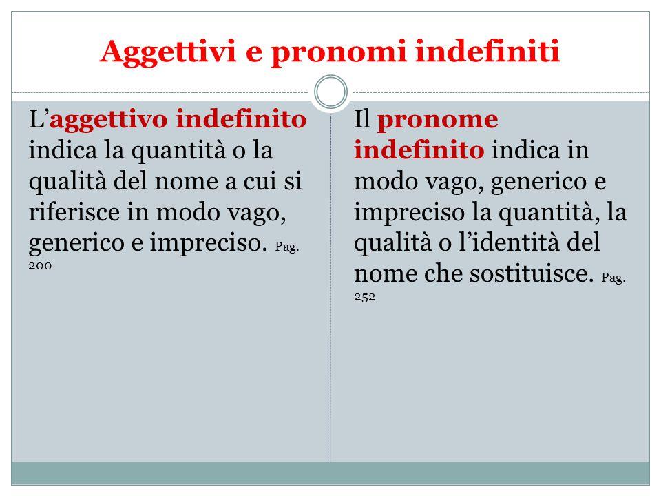 Aggettivi e pronomi indefiniti L'aggettivo indefinito indica la quantità o la qualità del nome a cui si riferisce in modo vago, generico e impreciso.