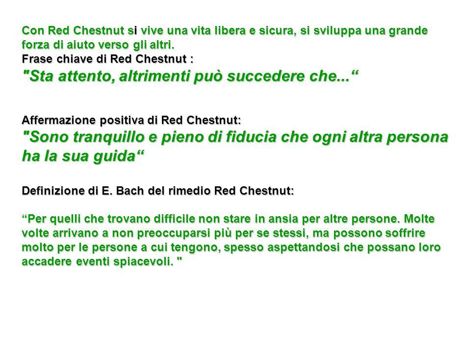 Con Red Chestnut si vive una vita libera e sicura, si sviluppa una grande forza di aiuto verso gli altri. Frase chiave di Red Chestnut :