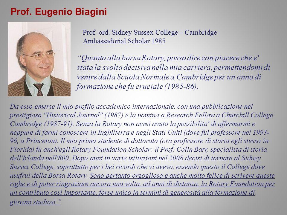 Prof.Eugenio Biagini Prof. ord.