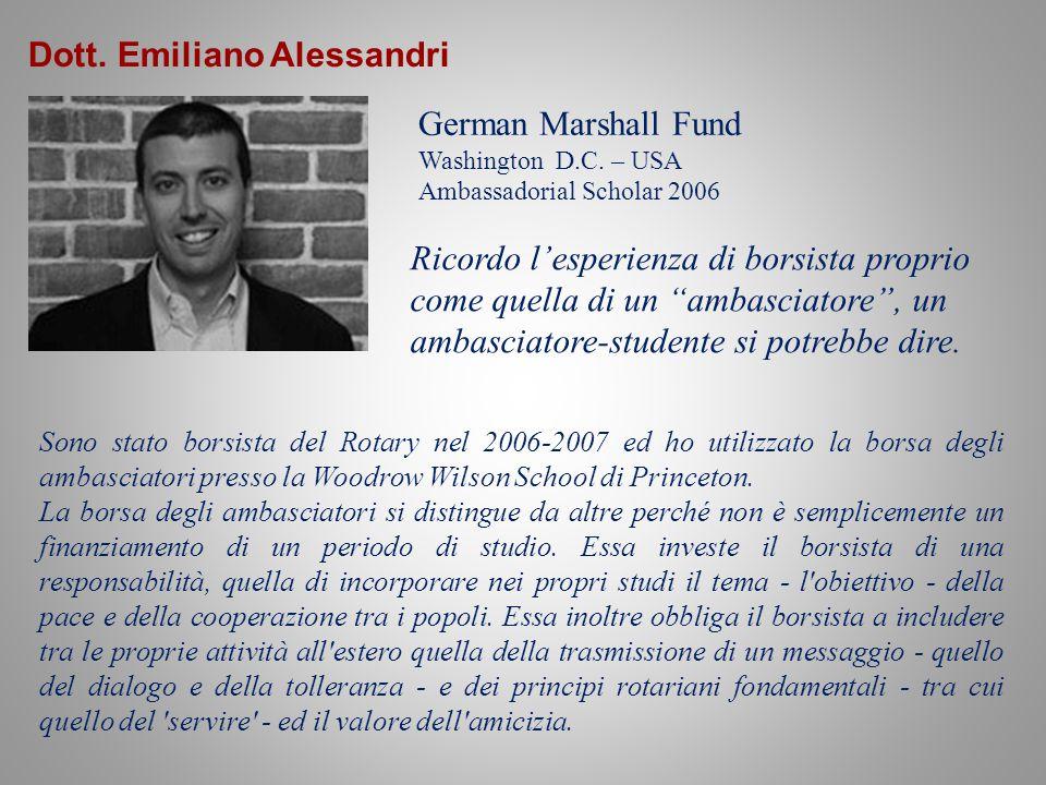 Dott.Emiliano Alessandri German Marshall Fund Washington D.C.