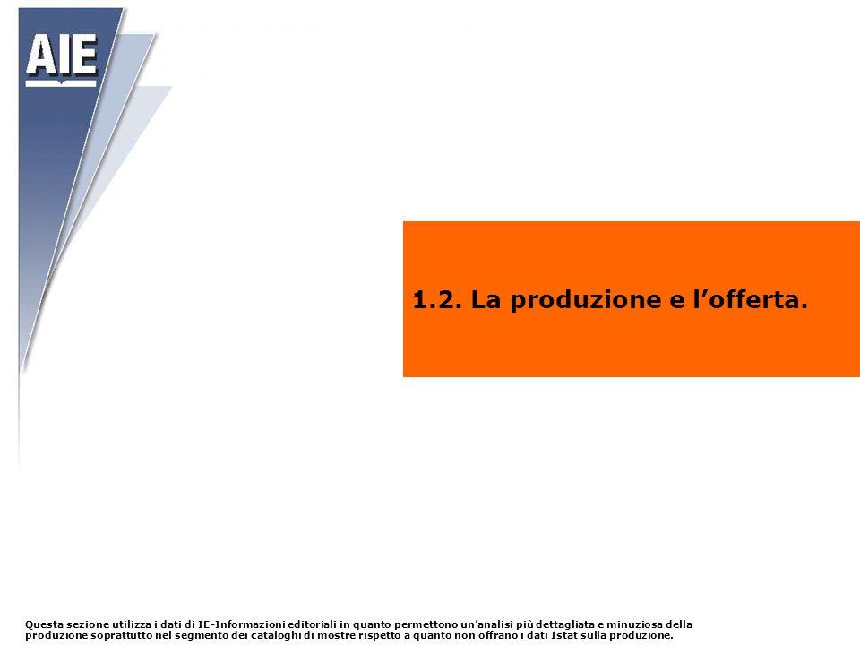 1.2. La produzione e l'offerta. Questa sezione utilizza i dati di IE-Informazioni editoriali in quanto permettono un'analisi più dettagliata e minuzio