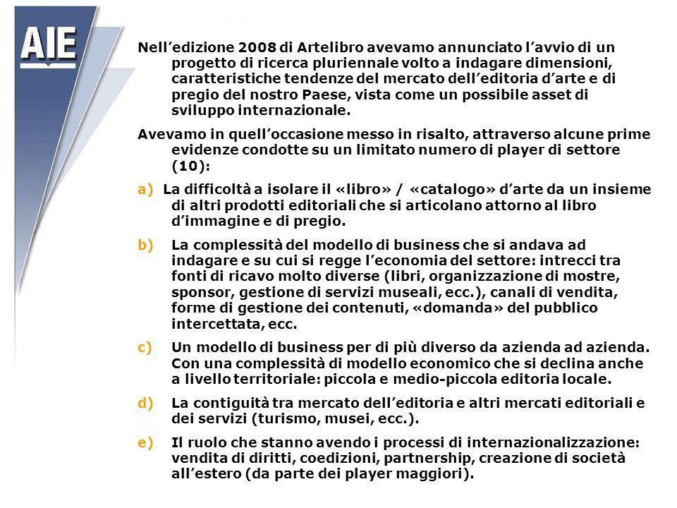Nell'edizione 2008 di Artelibro avevamo annunciato l'avvio di un progetto di ricerca pluriennale volto a indagare dimensioni, caratteristiche tendenze del mercato dell'editoria d'arte e di pregio del nostro Paese, vista come un possibile asset di sviluppo internazionale.