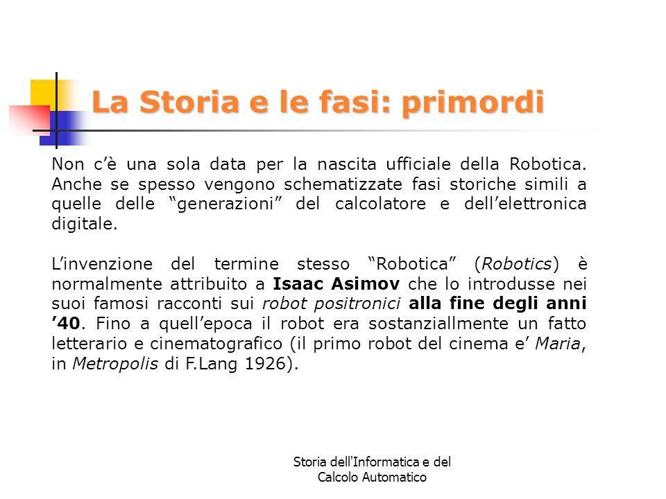 Storia dell'Informatica e del Calcolo Automatico La Storia e le fasi: primordi Non c'è una sola data per la nascita ufficiale della Robotica. Anche se