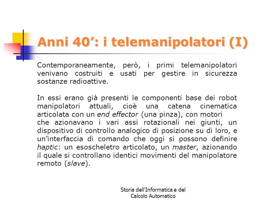 Storia dell'Informatica e del Calcolo Automatico Anni 40': i telemanipolatori (I) Contemporaneamente, però, i primi telemanipolatori venivano costruit