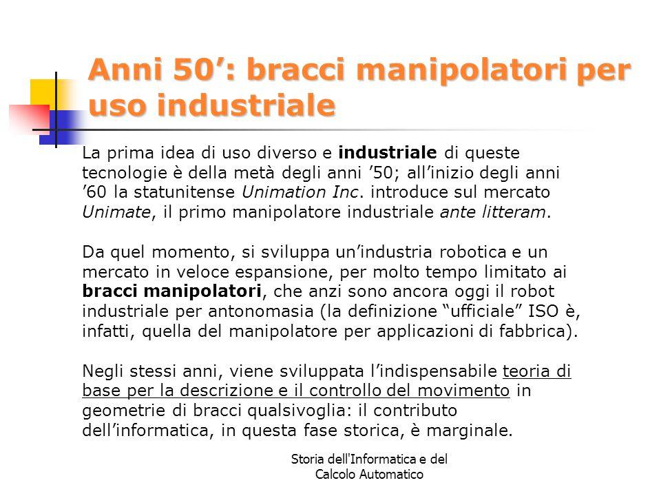 Storia dell'Informatica e del Calcolo Automatico Anni 50': bracci manipolatori per uso industriale La prima idea di uso diverso e industriale di quest