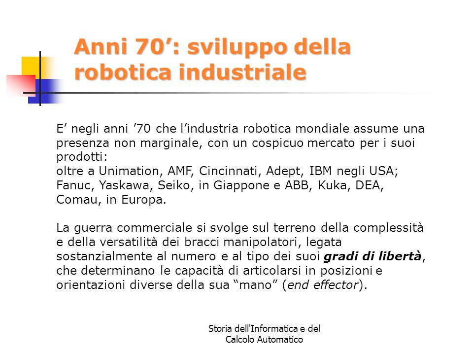Storia dell'Informatica e del Calcolo Automatico Anni 70': sviluppo della robotica industriale E' negli anni '70 che l'industria robotica mondiale ass