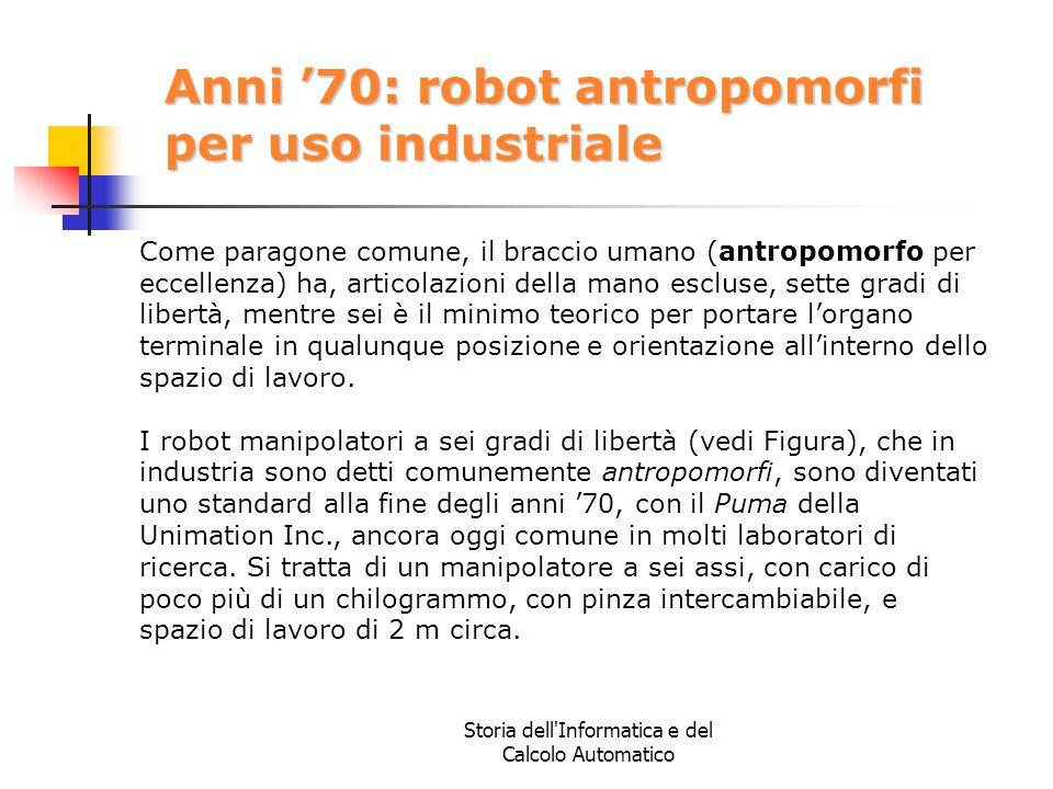 Storia dell'Informatica e del Calcolo Automatico Anni '70: robot antropomorfi per uso industriale Come paragone comune, il braccio umano (antropomorfo